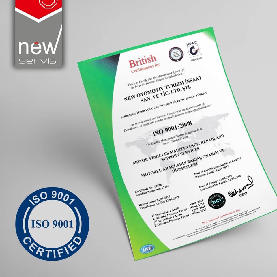 New Servis'in sunduğu hizmet kalitesi ISO 9001 güvencesindedir.